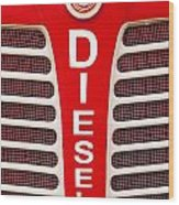 Red Bumper On Vehicle Labeled Diesel Wood Print
