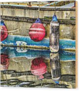 Red Buoy Reflections Of Alaska Wood Print