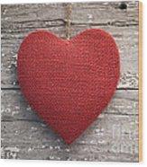 Red Burlap Heart On Vintage Table Wood Print