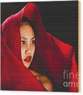 Red Burlap Wood Print