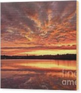 Red Burning Sky Wood Print