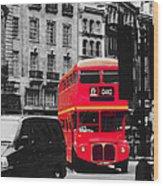 Red Bus Wood Print