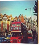 Red Bus On High Street Kensington Wood Print by Maeve O Connell