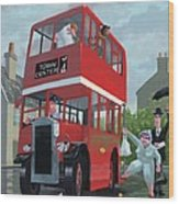 Red Bus Stop Queue Wood Print by Martin Davey