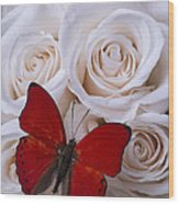 Red Butterfly Among White Roses Wood Print