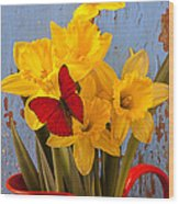 Red Butterfly On Daffodils Wood Print