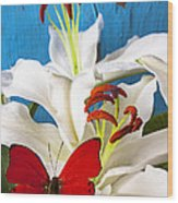 Red Butterfly On White Tiger Lily Wood Print by Garry Gay