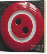 Red Button Close Up Wood Print