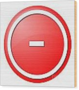 Red  Button Minus Wood Print