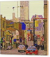 Red Cab On Gerrard Chinatown Morning Toronto City Scape Paintings Canadian Urban Art Carole Spandau Wood Print