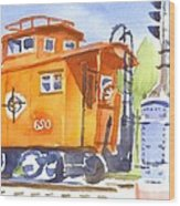 Red Caboose With Signal  Wood Print