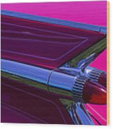 Red Caddy Tail Lights Wood Print