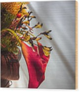 Red Cala Wood Print