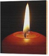 Red Candle Burning Wood Print by Matthias Hauser