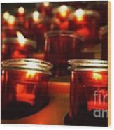 Red Candles Wood Print