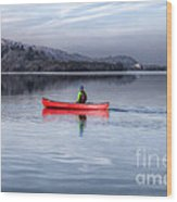 Red Canoe Wood Print by Adrian Evans