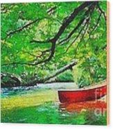 Red Canoe Wood Print by Elizabeth Coats