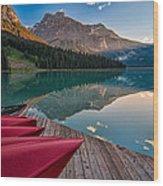 Red Canoe View Wood Print