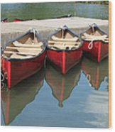 Red Canoes Wood Print