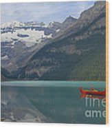 Red Canoes On Lake Louise Wood Print