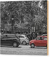 Red Car In Paris Wood Print