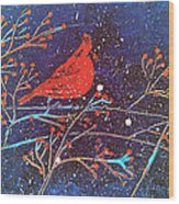 Red Cardinal Bird On Branch Painting Fine Art Print Wood Print