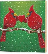 Red Cardinal Bird Pair Heart Christmas Wood Print by Frank Ramspott