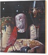 Red Cardinal Red Wine Sin Wood Print