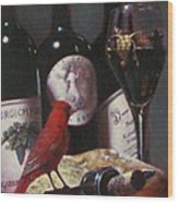Red Cardinal With Red Wine 2 Wood Print