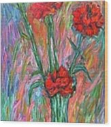 Red Carnation Melody Wood Print