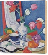 Red Chair And Tulips, C.1919 Wood Print