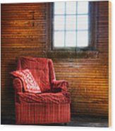 Red Chair In Panelled Room Wood Print