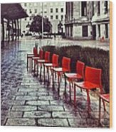 Red Chairs At Mint Plaza Wood Print
