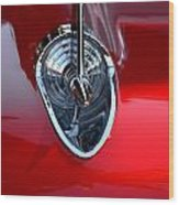 Red Chevy Hood Ornement Wood Print