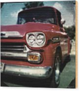 Red Chevy Pickup Wood Print