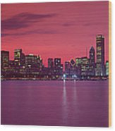 Red Chicago Sunset Wood Print