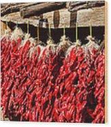 Red Chili Ristras Wood Print