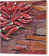 Red Chillies On Rustic Background Wood Print