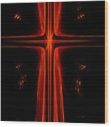 Red Christian Cross Wood Print