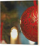 Red Christmas Bauble - Available For Licensing Wood Print