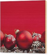 Red Christmas Baubles And Decorations Wood Print