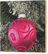 Red Christmas Ornament Wood Print
