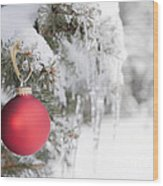 Red Christmas Ornament On Icy Tree Wood Print