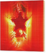 Red Christmas Star Wood Print