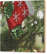 Red Christmas Stocking - Available For Licensing Wood Print