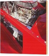 Red Classic Car Engine 2 Wood Print