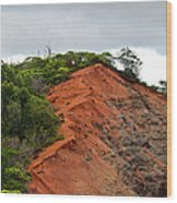 Red Cliff At Waimea Wood Print