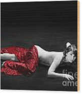 Red Cloth Nude 1 Wood Print