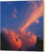 Red Clouds In The Evening Wood Print