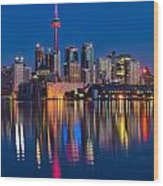 Red Cn Tower Wood Print